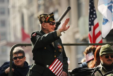 WWII Veterans Day parade New York Trump