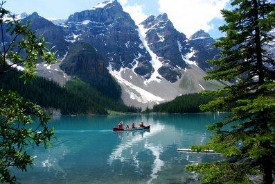 Lake Moraine, Rocky Mountains, Alberta, Canada