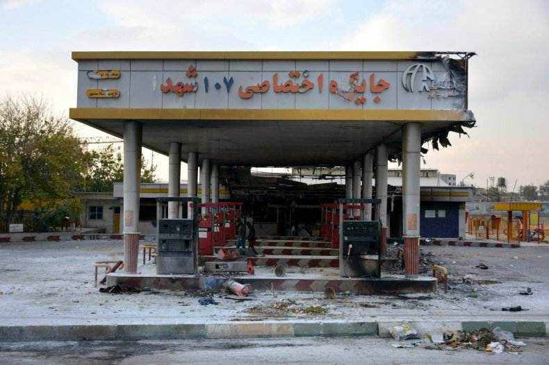 iran gas station fire protests