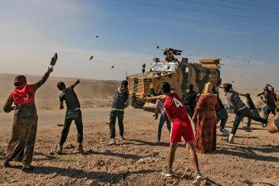 syria turkey patrol invasion stones