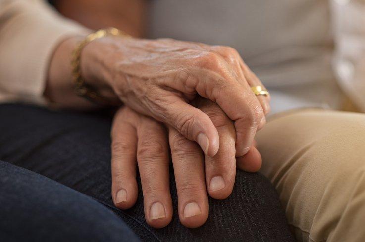 elderly, old people, love, marriage, hands, stock