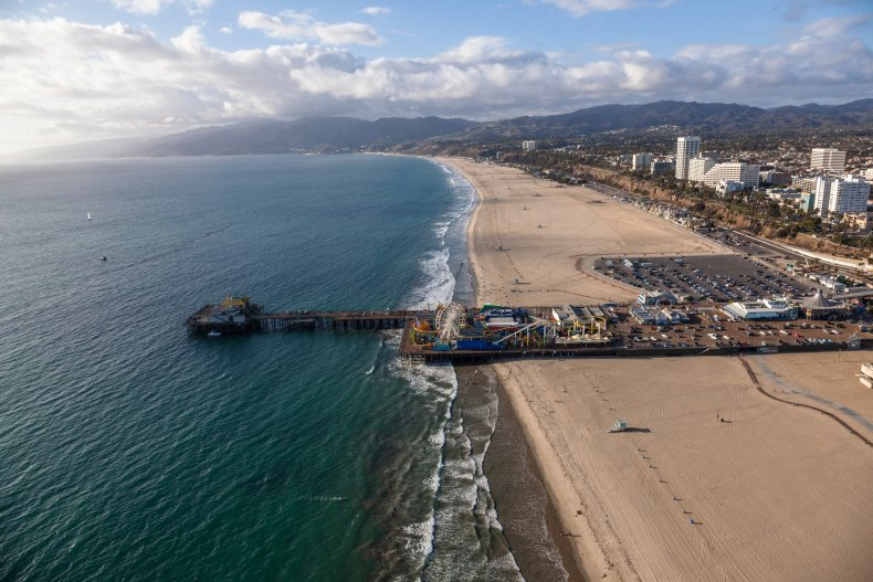 The beach coast of Santa Monica in Los Angeles