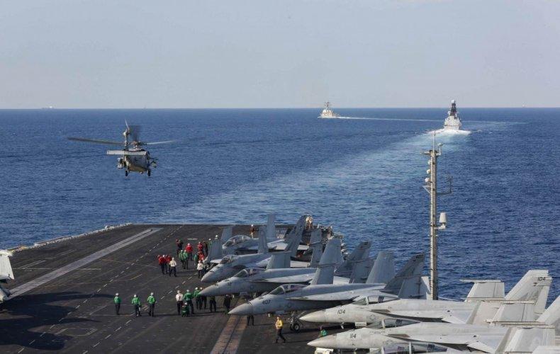 us aircraft carrier strait hormuz persian gulf