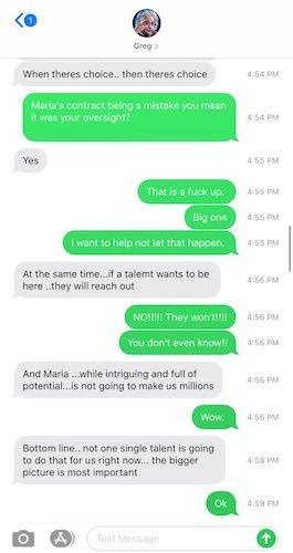 ROH text message exchange