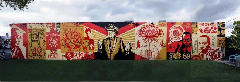 A mural by Shepard Fairey at Wynwood Walls