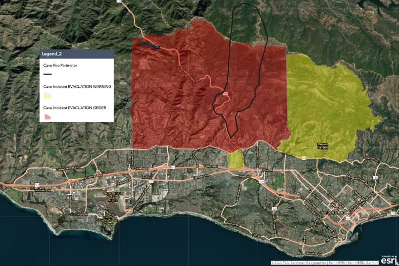 Cave Fire Evacuation Map 11-26-19 5.30am ET