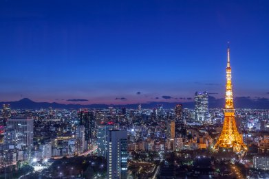 Tokyo, Mount.Fuji, Japan at night
