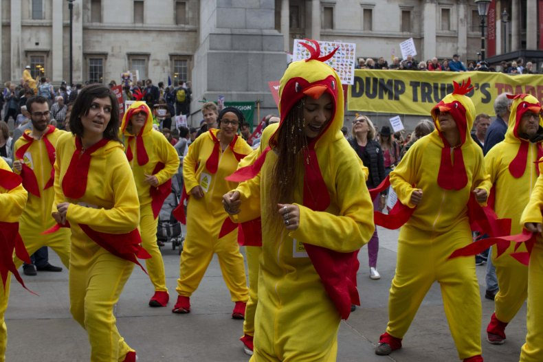 Chlorinated Chickens at anti-Trump protest in London