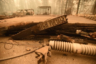 power lines, camp fire, california