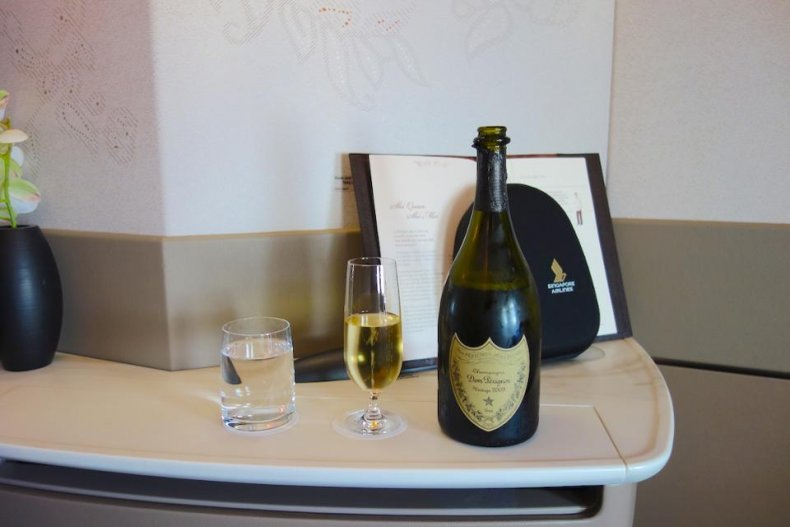 Dom Perignon First Class Singapore Airlines