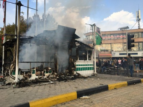 iran police station burned protests