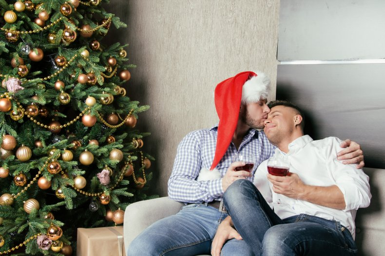 gay christmas stock photo