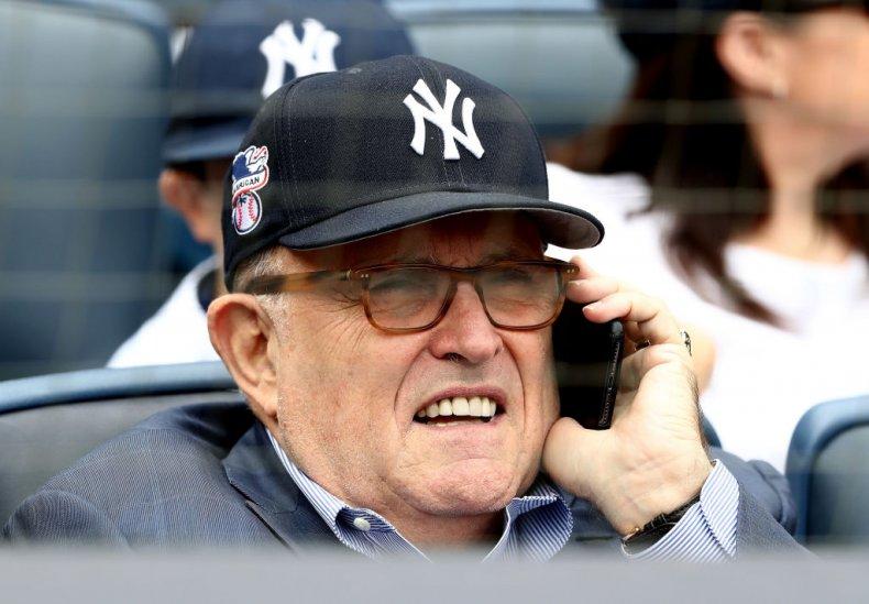 Rudy Giuliani at Baseball Game