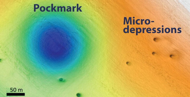 pockmarks, micro-depressions