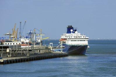 cruise ship docked at port