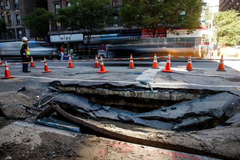 Water main break sink hole NYC 2016