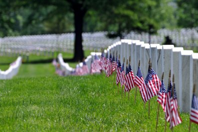 american flags in cemetary