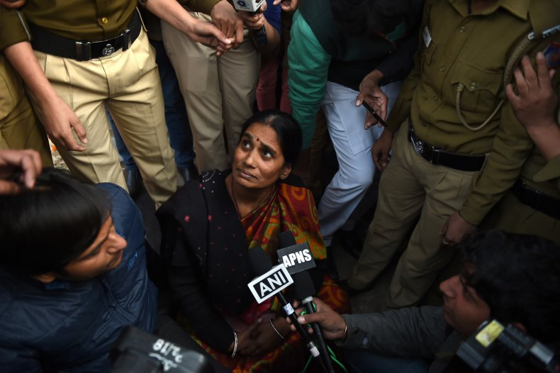 The mother of Indian gangrape victim 'Nirbhaya' attends a rally