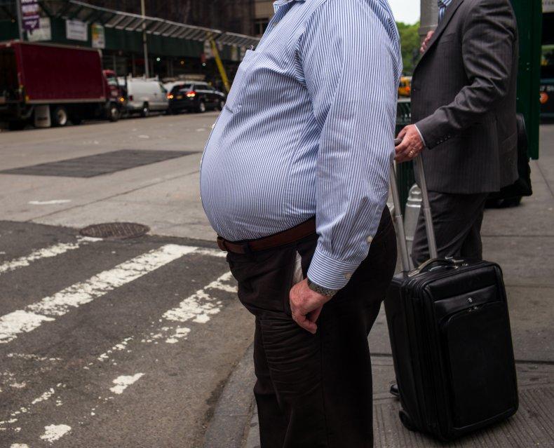 man at new york intersection
