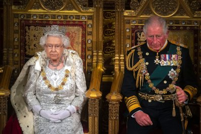 Britain's Queen Elizabeth II with Prince Charles