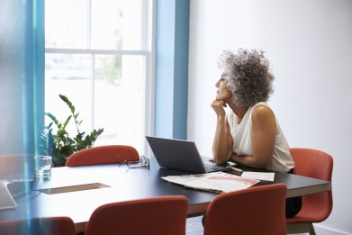woman, thinking, office, stock, getty
