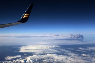 Iceland Eruption seen from a plane