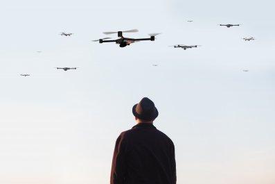 drones in sky