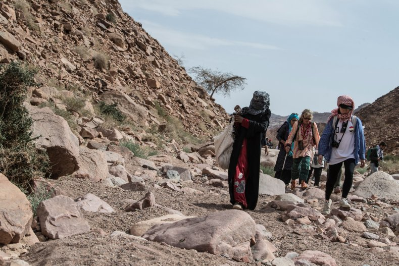Hiking with bedouin woman in Egypt