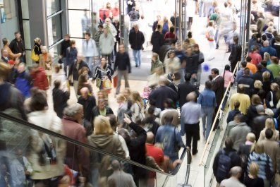 A crowded shopping mall