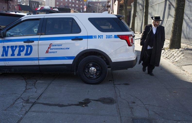 New York City Mayor de Blasio holds a press confrence denouncing hate crimes in Williamsburg, Brooklyn