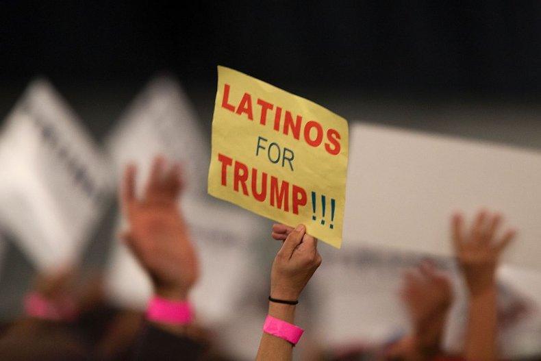 Latinos for Trump sign at rally