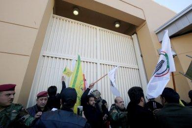 Iraqi Protesters Outside U.S. Embassy