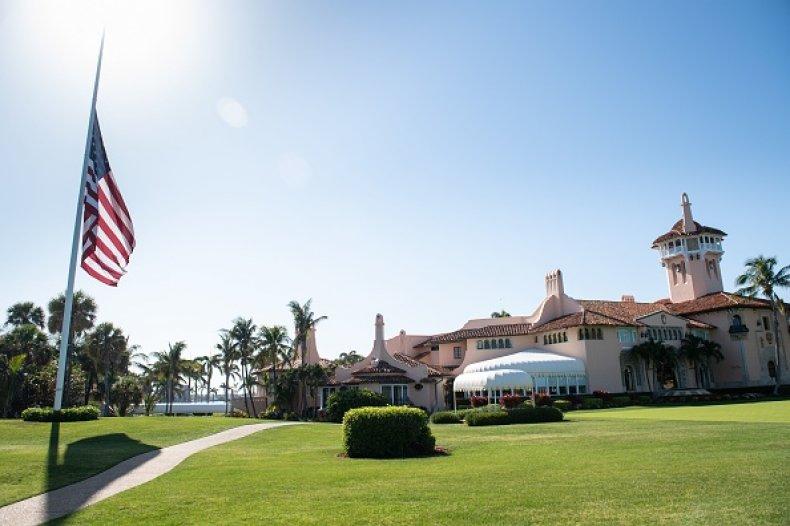 American flag at trump's mar-a-lago resort