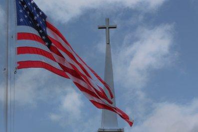 usa flag and cross