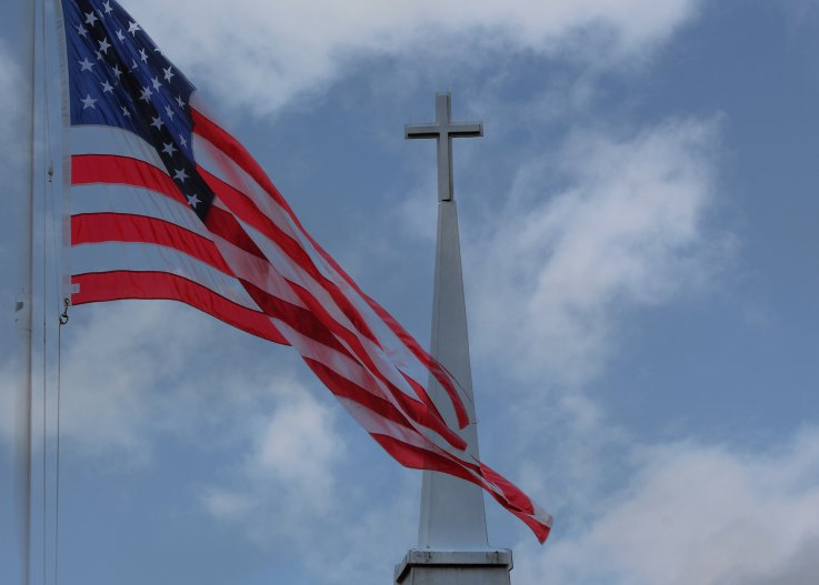 usa flag and cross