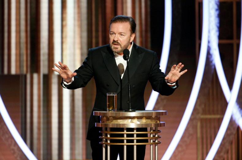#HollywoodHypocrites Trends After Ricky Gervais' Golden Globes Monologue