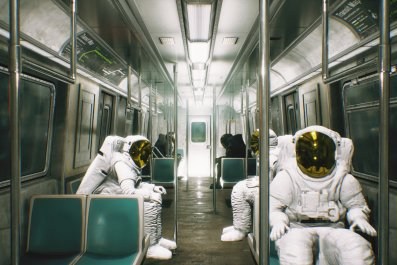 Astronauts riding subway trail