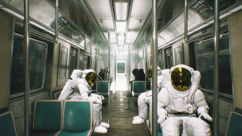Astronauts riding subway trail