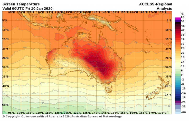 Temperature Friday Australia BoM
