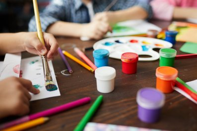 painting, children, school, learning, paint, stock, getty