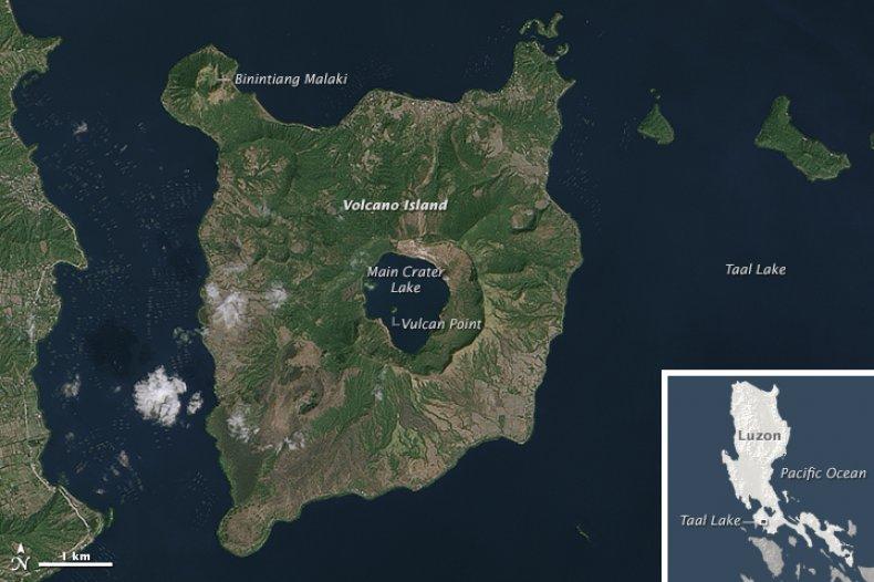 taal volcano caldera cracks eruption