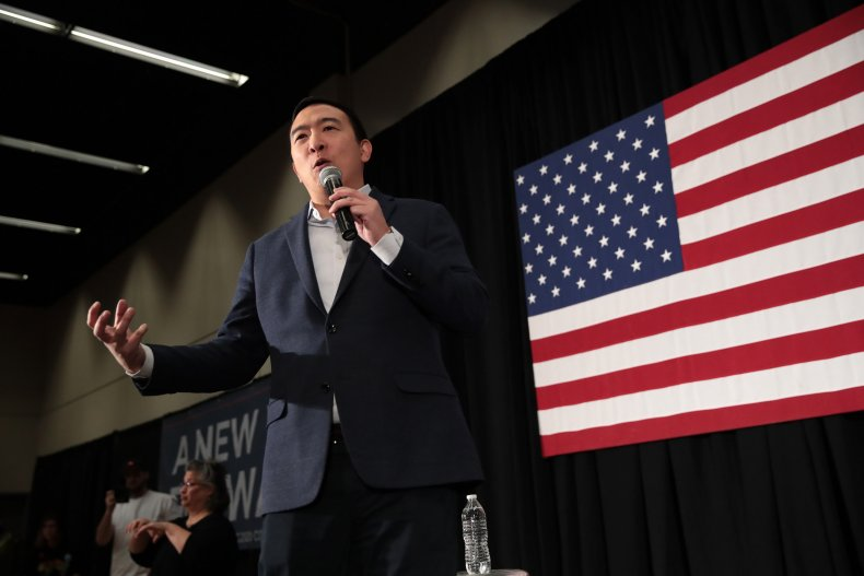 Andrew Yang Holds Town Hall At Drake University
