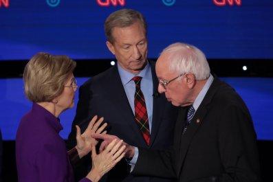 Bernie Sanders, Elizabeth Warren and Tom Steyer