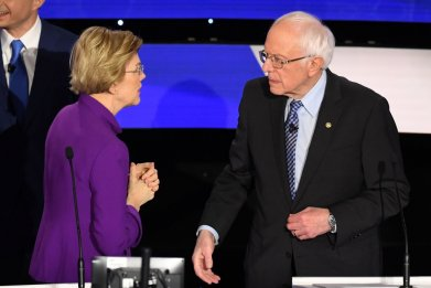 Elizabeth Warren and Bernie Sanders Post-Debate Iowa
