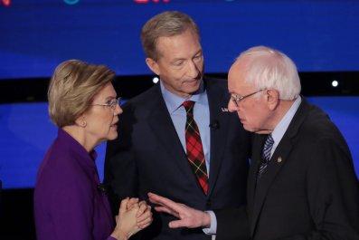 Tom Steyer Watches Warren, Sanders Exchange