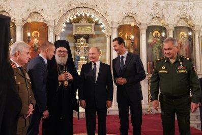 syria, assad, russia, putin, cathedral, damascus