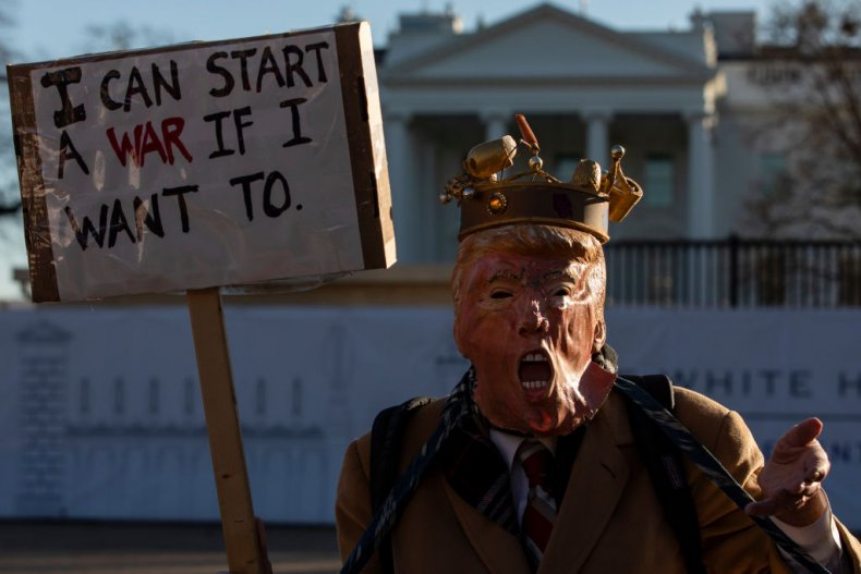 Protester against war