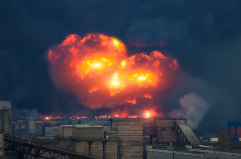 Explosion over industrial area
