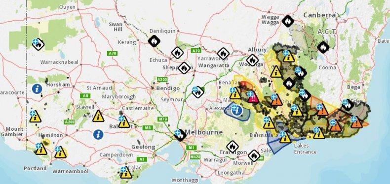 australia wildfires map victoria