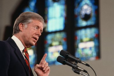 Jimmy Carter Speaking in a Church